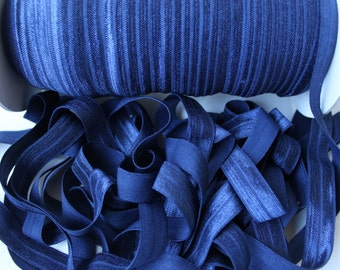 Navy blue fold over 5/8, Fold Over Elastic, DIY Supplies, Wholesale, FOE, Foldover, Headband, Shiny Elastic, Headband Making Wholeseller