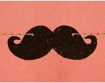 Black glitter mustache garland strung on metallic bronze & natural colored hemp twine READY TO SHIP