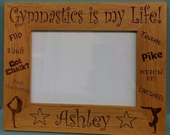 Gymnastics Picture Frame, Gymnastics is my Life! Boy or Girl Engraved Personalized Picture Frame