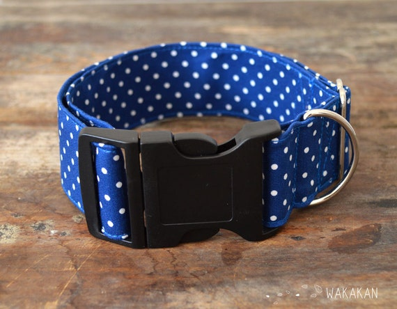 "Blue Dots collar for big dogs.1.5"" width. Length adjustable. Handmade with 100% cotton fabric. Elegant chic style. leash. Wakakan"