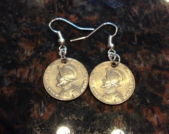 Panama 10 cents coin earrings.