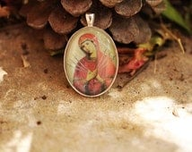 Our Lady Of Sorrows / Seven Sorrows Catholic Christian Medal Pendant Charm Cabochon / Gift