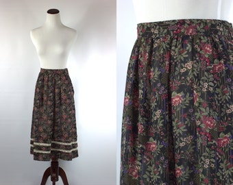 S a l e • Floral and Lace Sheer 70s High-waisted Midi Skirt -- Sz Sm