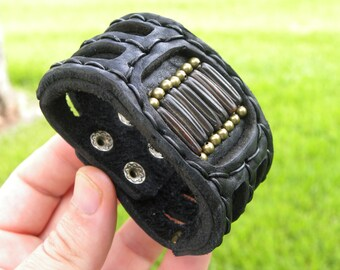 Gift for Men Valentine's day  Navajo Indian style Customize your wrist Antic Bones Bracelet Genuine Buffalo Leather wristband Indian Style