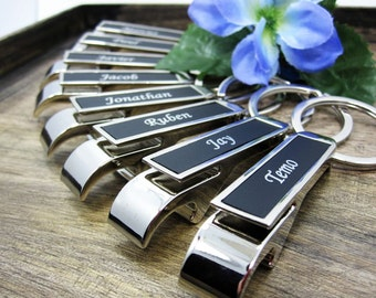 Groomsman Gift or Groomsmen Gift - Personalized BLACK Bottle Opener Keychain ENGRAVED FREE