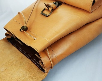 Leather Backpack-Handmade Natural Rucksack-Leather Satchel-LARGE