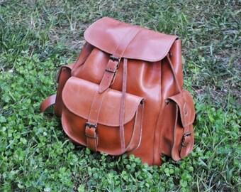 Leather Backpack -Leather Rucksack,Handmade Tobacco Color Satchel-LARGE