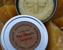 Natural Bergamot Solid Lotion Bar by Bee Simple