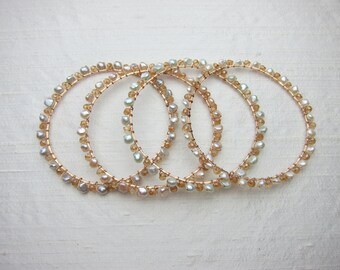 Champagne Quartz and Gray Pearl Handmade Bracelet with 14K Rose Gold Filled Wire Wrap