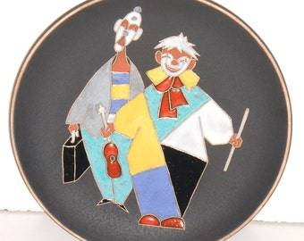 Ruscha Two Clowns art Pottery West Germany Vintage Mid Century Ceramic Plate 70s