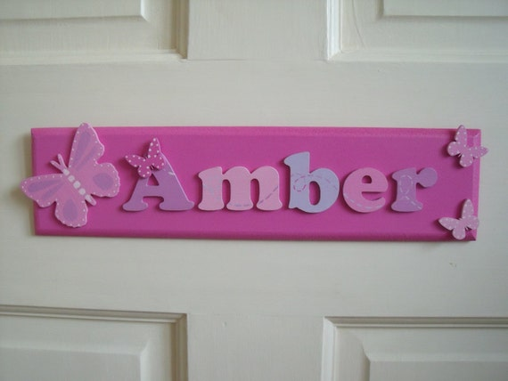 Childrens Hand Made Wooden Name Plaques Door Signs Girls