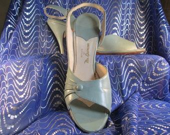 8N Seafoam leather high heel peep-toe sling-backs glamour pin-up 1950's vintage heels