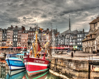 Honfleur Harbor, Normandy France, French Travel Photography, 8x10, 11x14, 16x24, Holiday Gift, Home Decor