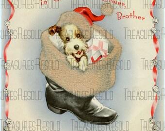 Retro Scottie Terrier Dog In Santa Boot Christmas Card #192 Digital Download