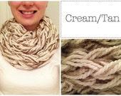 Chunky Infinity Scarf - Cream/Tan