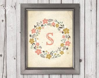 Floral wreath vintage monogram nursery decor printable art instant download