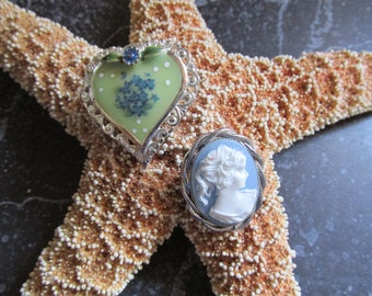 Heart and Cameo Brooch Pin Lot Blue and Mint Green Silver Tone