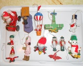 Set of 37 Wood Christmas Ornaments