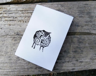 Handprinted card.Black sheep. Blank cards. Greeting cards.  Nature cards.
