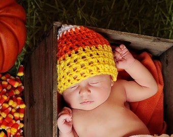 Candy Corn Hat, Baby Candy Corn Hat, Infant Halloween Hat, Crochet Baby Hat, Crochet Candy Corn, Holiday Baby Hat, Baby Photo Prop