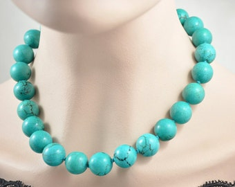 """18""""  20"""" 16mm Charm Luster Round Turquoise Beads Knotted  Choker Necklace Charm Turquoise Jewelry"""