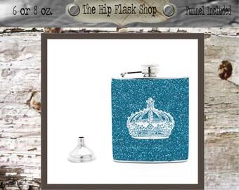 Crown Name / Monogram Flask  21st Birthday Gift Bridal Party Groomsman Bridesmaid Liquor Flask Funnel Custom