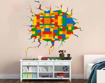 Beau Full Color Wall Decal Vinyl Mural Kids Crack In The Wall Building Blocks,  Bricks Pattern