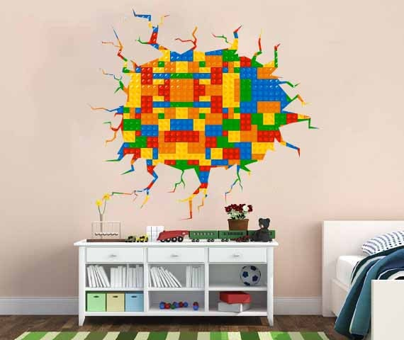 Full Color Wall Decal Vinyl Mural Kids Crack In The Wall - Lego wall decals vinyl