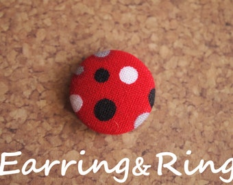 Red, black, gray, and white polka dot fabric covered button earrings, fabric covered button clip on earrings, fabric covered button ring