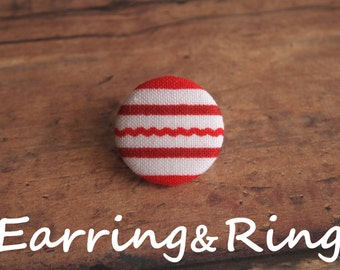 Red and white striped fabric covered button earrings, fabric covered button clip on earrings, fabric covered button ring