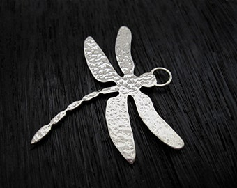 Large Hammered Sterling Silver Dragonfly Pendant (one)