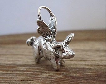 Whimsical Handmade Sculptured Artisan Flying Pig Charm in Sterling Silver (one) (C) (A)