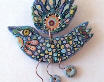 "Ceramic jewelry, designer jewelry, artistic jewelry, ceramics, majolica, exclusive jewelery, miniature painting, ceramic brooch ""Blue Bird"""