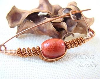 Coral Brooch - Wire Wrapped - Copper - Non-tarnish Copper