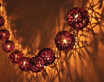 20 Purple Rattan Ball String Lights for Party Wedding and Decorations