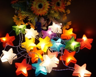 20 Stars paper Mixed colors lantern string lights for party wedding home decoration indoor outdoor