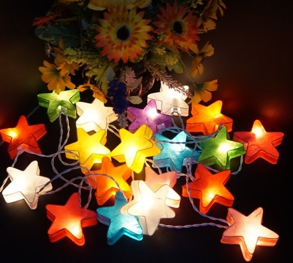 Paper Lantern String Lights Indoor : 20 Stars paper Mixed colors lantern string lights for party
