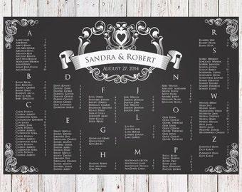 Wedding Seating Chart - RUSH SERVICE - Chalk Ribbon Heart Wedding Seating Chart Reception Poster - Digital Printable File -HBC52
