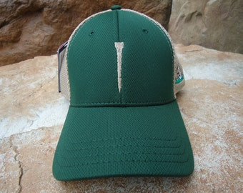 Men's Trucker Golf Hat Forest Green with Embroidered Tee Design | Great Golf Gift Item