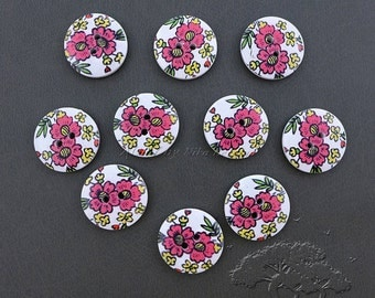 10 pcs 2-Hole Wooden Buttons, Printed Flat Round Button, Mixed Color, 23x4.5mm