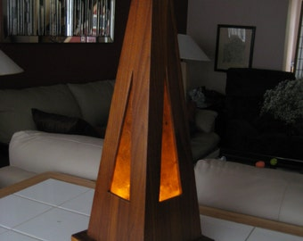 Handmade, Wooden Table Lamp, LED and Incandesent Light.