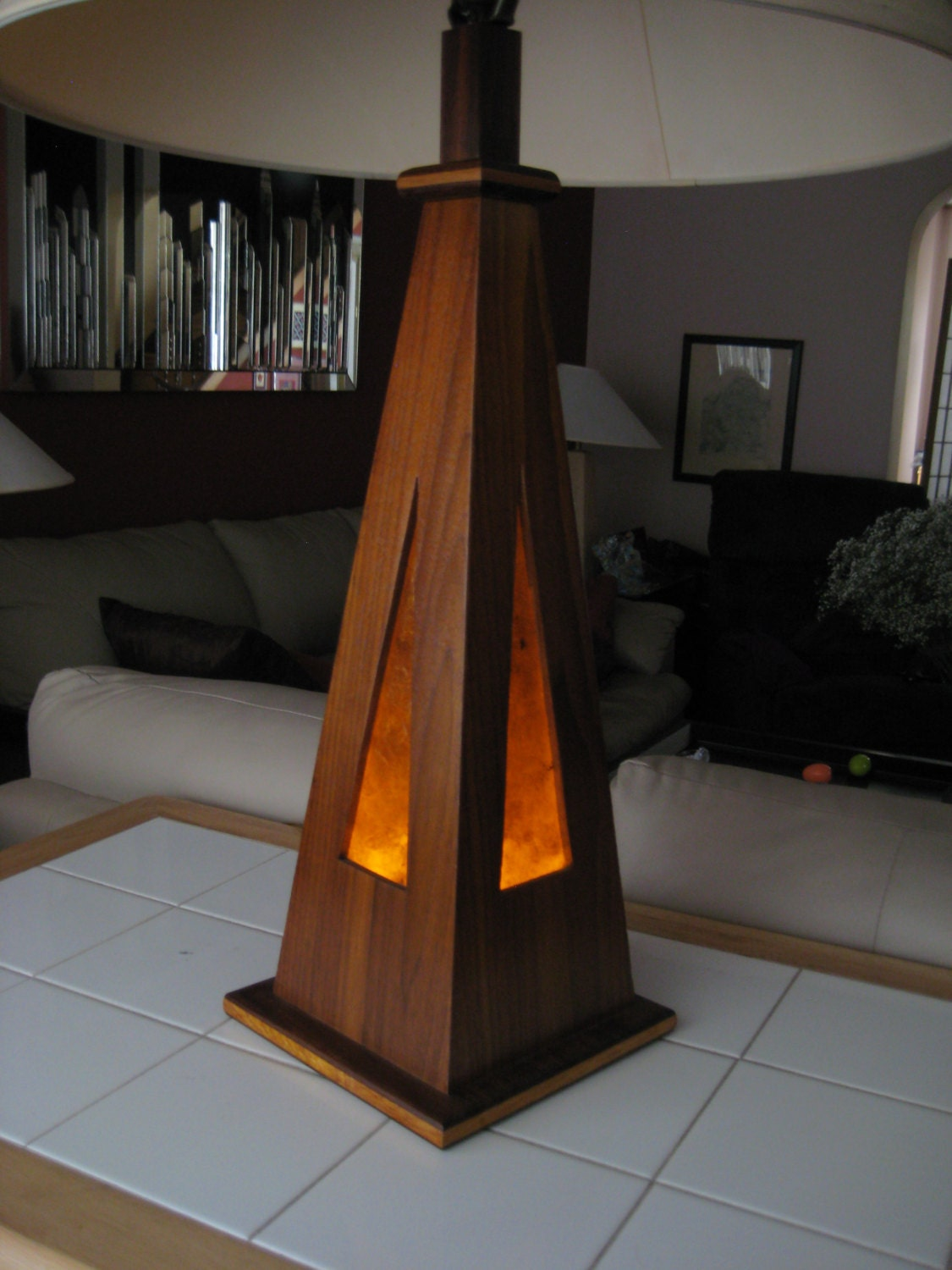 Handmade Wooden Lamps : Handmade wooden table lamp led and incandesent light