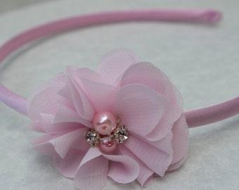 Pink headbands, pink flower girl headband, toddler plastic headband, pink hard headbands, light pink hair accessory, chiffon flowers pink