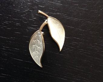 Vintage 1950's David Andersen silver and white enamel leaf earrings, made in Norway