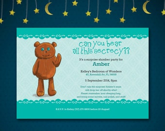 Bear The Secret Surprise Slumber Party Invitation Printable Custom Made