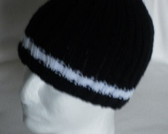 Gents Black and White, Hand Knitted, Rib Pattern, Beanie Hat