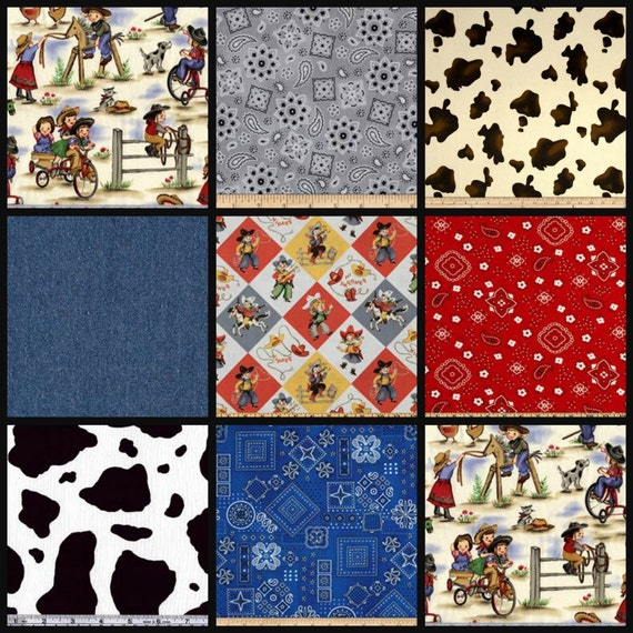 Items similar to cowboy up 2 swatches of fabric for baby for Horse fabric for kids
