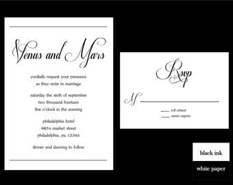 Cursive Wedding Invitation Set, Black and White Invitation, Wedding Invitation, DIY Printable Wedding Invitation Set, Modern Wedding Invite