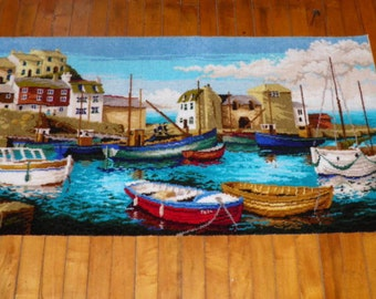 Vintage Picture Rug Wall Hanging of Harbor Scene-SALE