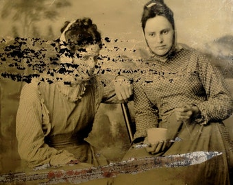 Sickly Sisters / Unusual tintype photograph of sick women with rags tied around heads / Unique rare medical oddity tintype